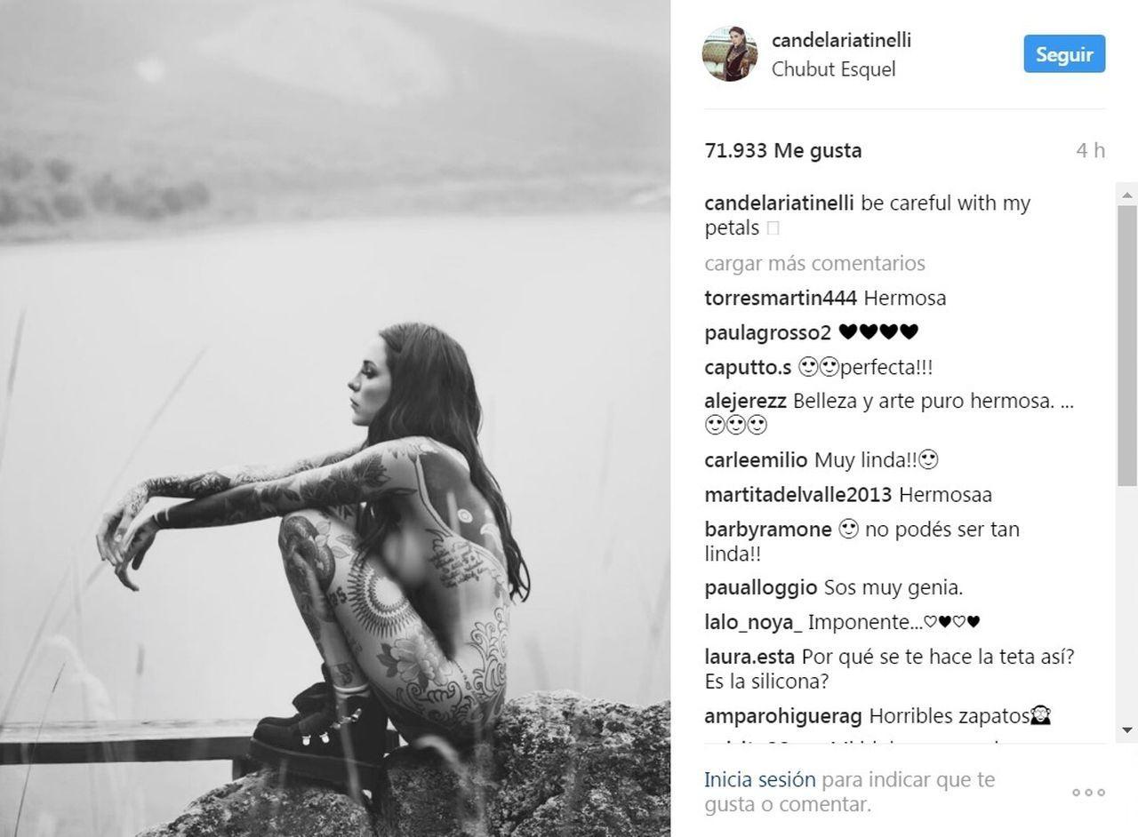 Candelaria Tinelli se desnudó por completo en Esquel