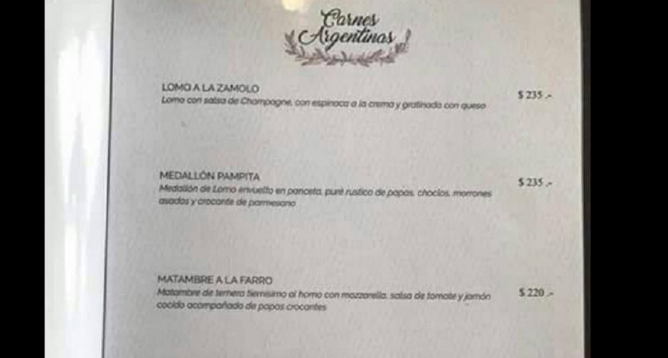 Un restaurante salteño ofrece platos con nombres de mujeres — Polémica