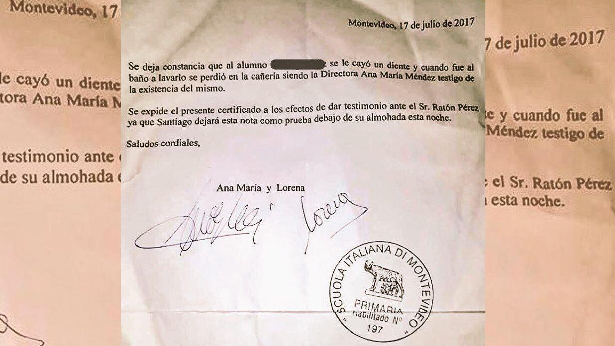 Perdió el diente y su maestra le escribió al Ratón Pérez