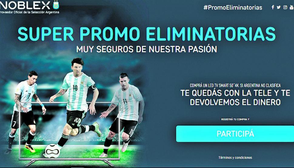 TENTADOR. La promoción de Noblex fue un éxito de ventas pero las pérdidas serán importantes si Argentina no va al Mundial