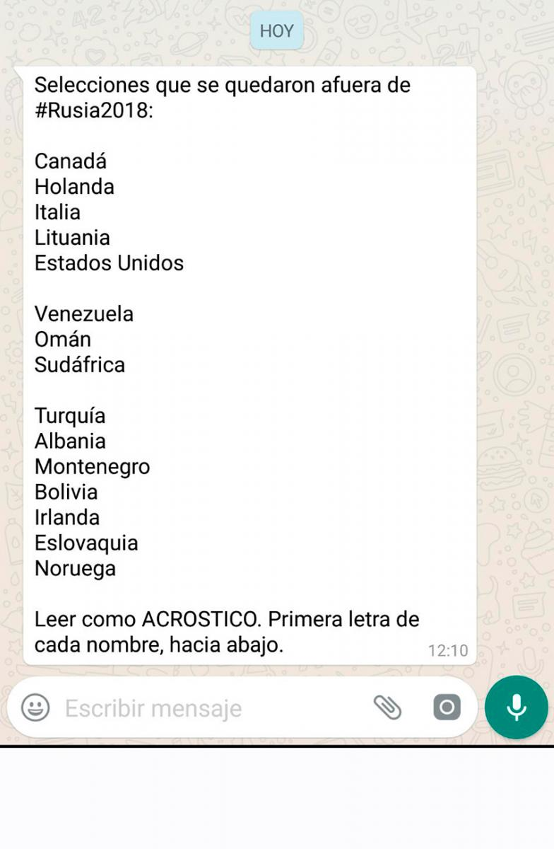 El Original Mensaje De Whatsapp Cargando A Chile Por Quedar Afuera