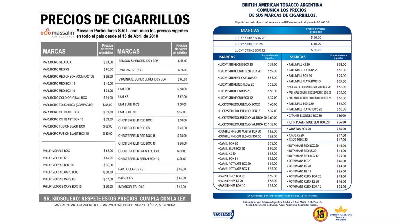 Estos son los nuevos precios — Aumentan los cigarrillos