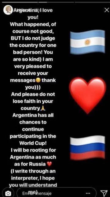 """Argentina los amo!"""": el mensaje de la joven rusa que fue"""