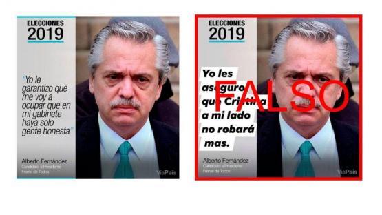 """Es falsa la imagen donde Alberto Fernández dice: """"Yo les aseguro que Cristina a mi lado no robará má"""
