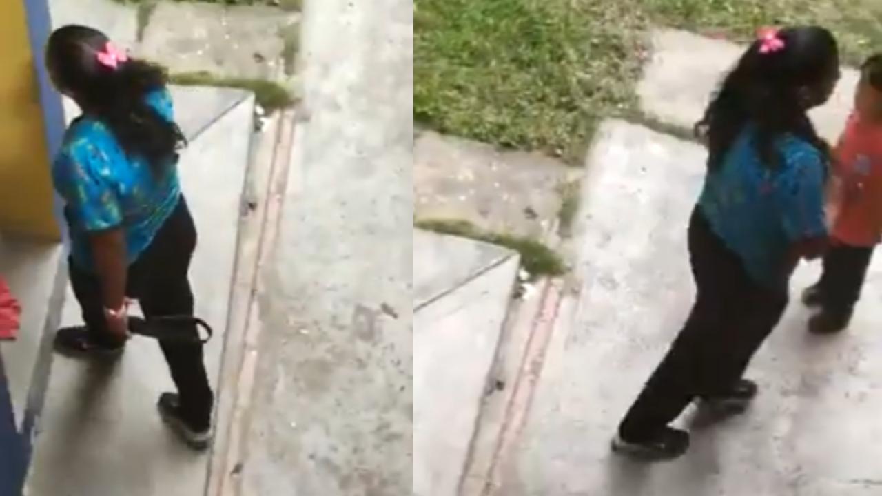 Maestra agarró a cintazos a su alumnito y la filmaron — Viral