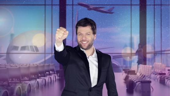 Guido Kaczka pilotea un avión de entretenimientos